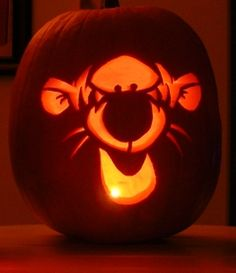 Tigger Jack o' Lantern from Winnie the Pooh. Great for kids Halloween.