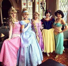 Cinderella, Rapunzel, Aurora, Jasmine, and Snow-White