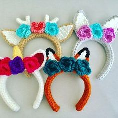 Animal Headband Pattern Bundle - crochet animal ear crochet pattern - deer headband - unicorn headband- bear headband - fox headband - bunny All patterns are off this week to help you get a head start on your Christmas projects! Crochet Unicorn Hat, Unicorn Headband, Crochet Beanie, Crochet Baby, Headband Crochet, Crochet Deer, Crochet Rabbit, Hairband, Crochet Hair Accessories