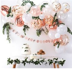 balloon arch This rose gold balloon garland arch kit will be the focal point of a baby shower, Miss to Mrs bridal shower, princess party, a tea party theme! Rose Gold Balloons, Confetti Balloons, Balloon Garland, White Balloons, Balloon Backdrop, Clear Balloons, Gold Confetti, Round Balloons, Balloon Columns