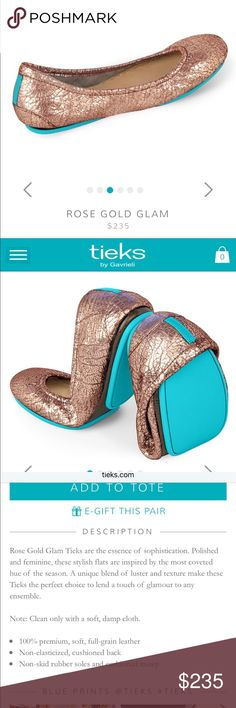 SOLD Tieks Rose Gold flats New in box size 10 rose gold flats Tieks Shoes Flats & Loafers