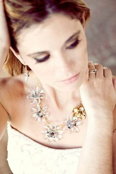 Crystal blossom and flower bud necklace $129 #etsy #jewelry #necklace #fashion