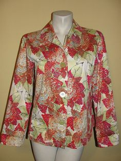 Chico's Jacket Sz 2 L Orange Green Sequined Floral Stretch LS Button Blazer #Chicos #BasicJacket #CareerDressyCasual