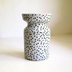 Ceramic Black and White Polka Dot Vase by jen e on Etsy