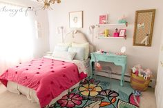Mermaid-Inspired Big Girl Room - love the aqua desk and lucite chair!