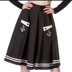 He'll Bunny rockabilly 50's black anchor skirt New with tag plus size ModCloth Skirts Midi