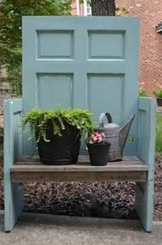 20 Simple and Creative Ideas Of How To Reuse Old Doors - Garden bench
