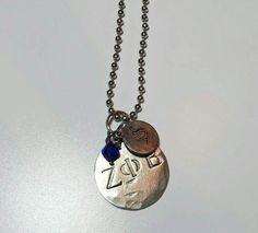 Zeta Phi Beta inspired stamped necklace kitty pledge Big