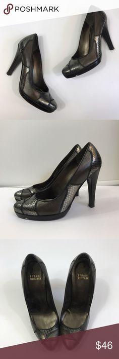 "Stuart Weitzman patched Platform pump heels excellent condition Stuart Weitzman Women's Size 6M  Copper silver Patched Platform Heel Pump Round Toe 4"" heel Stuart Weitzman Shoes Heels"