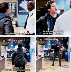 """And finally, when Jake proved that Terry would always catch him, literally, no matter what. 19 Times """"Brooklyn Nine-Nine"""" Was The Funniest Show On Television Brooklyn Nine Nine Funny, Brooklyn 9 9, Brooklyn 99 Season 2, Detective, Scary Terry, Rookie Blue, College Humor, Babe, Tv Quotes"""
