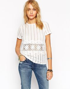 ASOS Top in Laddered Rib with Cotton Lace Trim