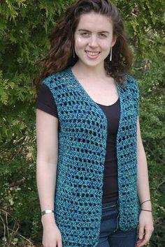 "Vestivus pattern by Maria Merlino ""Ravelry: Vestivus by Maria Merlino"", ""Ravelry: Project Gallery for Mesh Vest pattern by Doris Chan"" Crochet Waistcoat, Cardigan Au Crochet, Crochet Shrug Pattern, Black Crochet Dress, Crochet Jacket, Crochet Shawl, Crochet Vests, Free Pattern, Crochet Sweaters"