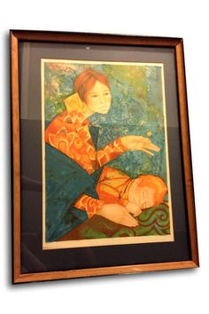 """An engaging signed and numbered (08/275) original lithograph by Spain's Gabriel Portoles (b. 1930). Portoles was known in Europe for using an uncommon medium an egg tempera method that gave his pieces an incredible dimension. He is also recognized as a master of """"retablo"""" painting, or works that have a historical or allegorical context. SHOP http://www.heathertique.com/products/copy-of-small-italian-gallery-picasso-child-dove-print-vintage-french-country-frame 