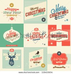 9 Vintage styled Christmas Card - Set of calligraphic and typographic elements, frames, vintage labels. Ribbons, stickers,  - all for Christmas - stock vector
