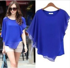 fashion 2013 women's blouse large size shirts summer batwing shirt top female plus size clothing chiffon shirt Chiffon Shirt, Chiffon Tops, Chiffon Cardigan, Plus Size Summer Tops, Summer Coats, Plus Size Kleidung, Women's Summer Fashion, Fashion 2014, Ladies Fashion