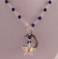 Blue and Silver Necklace Moon Necklace Star Necklace by Rumis, $35.00