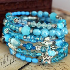 Beaded Memory Wire spiral Wrap Bracelet - Ocean Blues - Wrap around bracelet…
