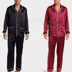 Mens Silk Satin Pajamas Pyajamas Set Sleepwear  Loungewear S M L XL XXL 3XL 4XL