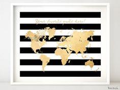 World Map Printable, Printable Art, Printables, Gold World Map, Gold Map, Gold Bedroom, Gold Nursery, Bedroom Black, Black Bedrooms