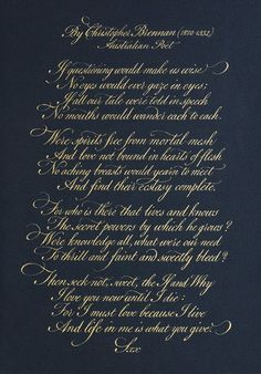 My Calligraphy Blog: Christopher Brennan Poem (2010)