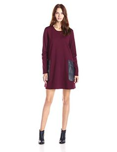 BCBGMax Azria Womens Farah Long Sleeve Tent Dress Bordeaux Combo XSmall >>> Details can be found by clicking on the image.