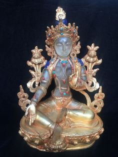 Tara Green Gold Stature Best Quality Buddha Nepal 15 Kg Masterpiece Sales Of Quality Assurance