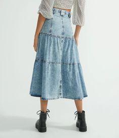 Saia Midi Jeans com Botões Frontais e Babados Azul All Jeans, Midi Skirt, Fashion, Denim Button Up, Front Button, Ruffles, Jacket, Women's, Long Skirts