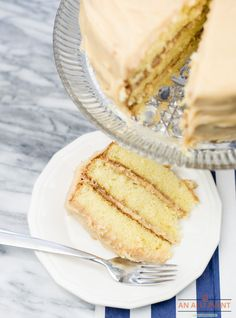 Caramel Cake is a classic and this one actually begins with a cake mix (shh). The caramel icing is homemade and the cake is moist and tender. It's a keeper! Spice Cake Recipes, Easy Cake Recipes, Dessert Recipes, Caramel Icing, Caramel Cakes, Caramel Delights, Golden Cake, Craving Sweets, Single Layer Cakes