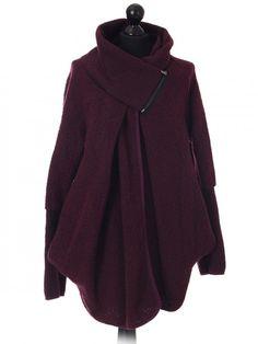 Italian ladies woollen coat with zip detail collar - wine