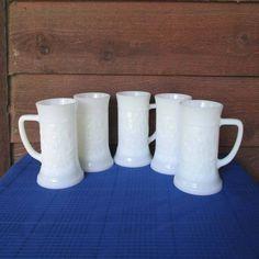 Vintage Barware, White Milk Glass Beer Steins Set, Vintage Glass Mugs by OldShedVintage on Etsy