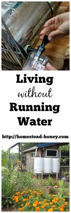 While our family creates a homestead from scratch on raw land, we've been living without running water. Here's how we make bathing, cooking, drinking, and watering without running water work for our family. | Homestead Honey