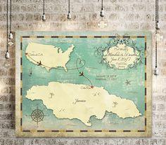 "Wedding Guest Book Map, Wedding Guest Book Alternative, Jamaica Map, Jamaica Wedding Map, Sizes 5""x7"" up to 30"" x 40"""