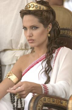 Angelina Jolie in 'Alexander'. Like the half-up with solid tiara. Or is it a crown?