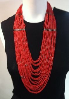 """AMERICAN NATIVE Vintage Coral Necklace and Sterling 26"""""""