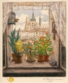 Tavik František Šimon (Czech, 1877 - 1942) - View from an open window