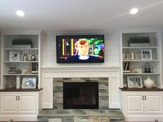 Bookshelves Around Fireplace, Wall Units With Fireplace, Built In Around Fireplace, Basement Fireplace, Brick Fireplace Makeover, Fireplace Built Ins, Home Fireplace, Fireplace Remodel, Living Room With Fireplace