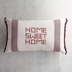 Cross-Stitched Home Sweet Home Lumbar Pillow