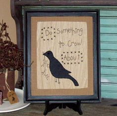 Framed Do Something to Crow About Stitched Picture