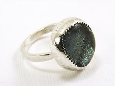 Sterling Silver and Dichroic Glass Ring  by SilverStringsStrands, $30.00