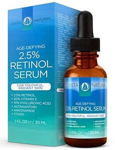 InstaNatural Retinol Serum 2.5% - With 20% Vitamin C, 10% Hyaluronic Acid, Astaxanthin, Niacinamide, CoQ10 & Organic Argan Oil - Best Anti Aging Anti Wrinkle Serum For Face & Sensitive Skin - 1 OZ