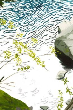 detail, Smith River, Northern California, watercolor by Eva Bartel Watercolor Landscape Paintings, Northern California, Travel Around, North America, River, Detail, Artist, Watercolor Artists, Rivers