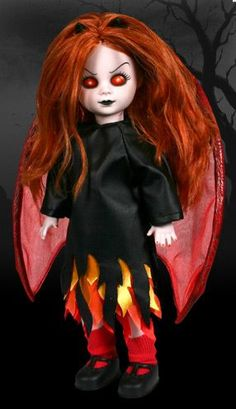 Inferno- Like a Phoenix, From the flames she arose. Pain and suffering She now bestows. Tiny Inferno liked to play with black magic, Until she met her demise so tragic. She conjured a demon she could not control, Angry and starving he devoured her soul. Halloween Doll, Spooky Halloween, Halloween Decorations, Halloween Ideas, Scary Dolls, Zombie Dolls, Beautiful Dark Art, Living Dead Dolls, Monster High Birthday