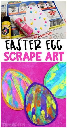 Easter egg scrape art for kids to make! Easter craft for kids. Fun way to paint for toddlers too!