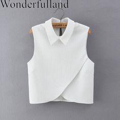 Korean Fashion 2016 Summer Women White Striped Print Cross Blouses Turn-down Collar Sleeveless Casual Crop Tops Shirt Crop Top Shirts, Crop Shirt, Crop Tops, Blouse Styles, Blouse Designs, Casual Outfits, Fashion Outfits, Fashion 2016, Sammy Dress