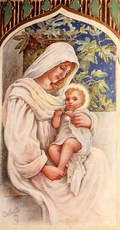 Mother Mary and Baby Jesus Christmas Card Images, Vintage Christmas Images, Christmas Pictures, Happy Birthday Jesus, Singing Happy Birthday, Blessed Mother Mary, Blessed Virgin Mary, Mama Mary, Mary And Jesus