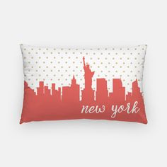 New York City skyline pillow featuring a gold polka dot design and the New York City skyline in your choice of 5 colors:  Gold and Navy (with Navy back) Gold and Mint (with Mint back) Gold and Pink (with Pink back) Gold and Coral (with Coral back) Gold and Mustard (with Mustard back)  Also, the words New York City can be included or left off. Please make your choice in the drop down menu  ________________________________________________________ GIMME ALL THE DETAILS:  —Indoor/outdoor pi...