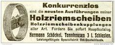 Original-Werbung/ Anzeige 1912 - HOLZRIEMENSCHEIBEN / SCHÖCKEL - TANNHAUSEN / SCHLESIEN - ca. 100 x 35 mm