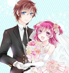 Tags: Anime, Wedding Dress, Yumehara Nozomi, Yes! Pretty Cure 5, Kokoda Kouji, Veil, Red Flower