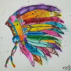 Watercolor Indian Headdress
