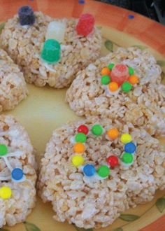These Rice Krispies Treats are topped with candy and are oh-so fun for the kids to customize, cut out, and decorate as they wish!